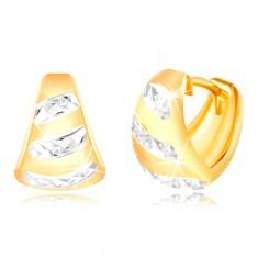 Orecchini in oro giallo 14K - arco opaco allargato, strisce lucide in oro bianco