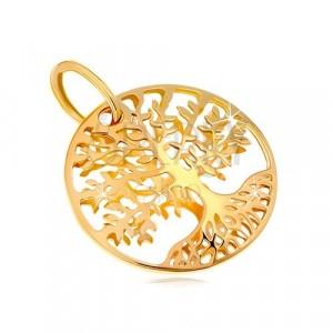 Ciondolo in oro giallo 585 - albero della vita in contorno cerchio