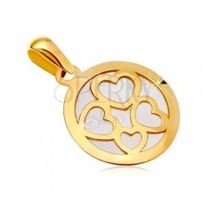Ciondolo in oro giallo 585 - cerchio costruito con madreperla bianca, contorni quattro cuori