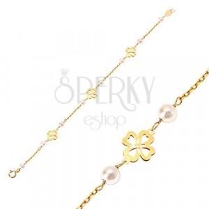 Bracciale in oro giallo 14K - perle bianche rotonde e quadrifoglio per buona fortuna