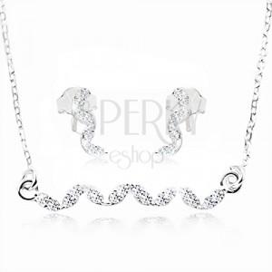 Set in argento 925, orecchini e collana - linea arcuata in zirconi chiari