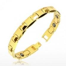 """Bracciale in tungsteno, colore dorato - maglie lucidi a forma di """"H"""", piramide, palline magnetiche"""