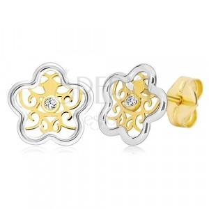Orecchini in oro 585 - fiore in due colori con ornamento e zircone chiaro