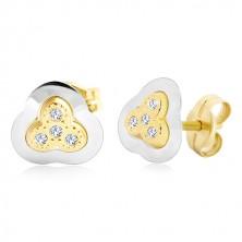 Orecchini in oro 14k - trifoglio in due colori con zirconi incastonati