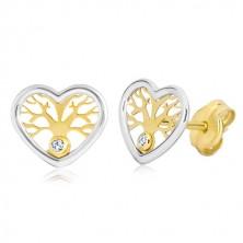 Orecchini in oro 585 - cuore in due colori con albero della vita e zirconi