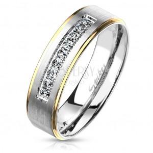 Anello in acciaio in due colori, argento e dorato, zirconi chiari, 6 mm