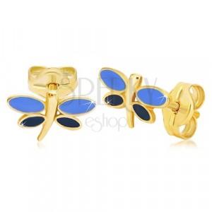 Orecchini in oro 14K - libellula con smalto blu sopra le ali