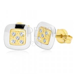 Orecchini in oro 14K - quadrato con zirconi chiari nel centro, oro giallo e bianco