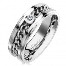Anello in acciao in color argento con catena e zircone chiaro, 7 mm