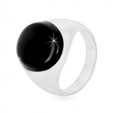 Anello in argento 925 con smalto ovale nero e lati brillanti