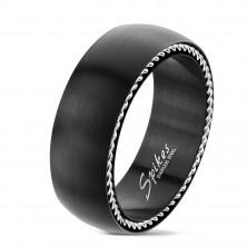 Anello in acciaio inox con spirali sui lati, nero opaco, 8 mm