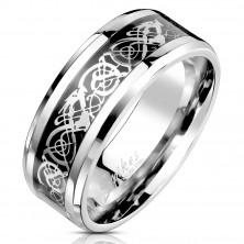 Anello in acciaio con modello ornamentale in color argento e nero, 8 mm