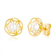 Orecchini in oro 585 con modello fiore inciso con perla nel centro