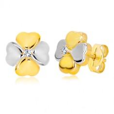 Orecchini in oro 14K in due colori - quadrifoglio con zircone, chiusura a farfalla