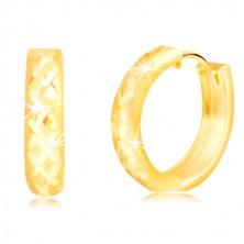 Orecchini in oro giallo 14K - cerchi opachi con reticolo brillante