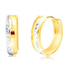 Orecchini rotondi in oro 14K in due colori - linea arcuata