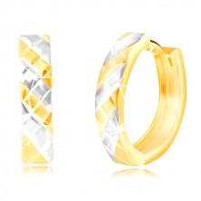 Orecchini rotondi in oro 585 in due colori - strisce in due colori e reticolo