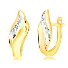 Orecchini in oro 14K - foglia con linea decorativa in oro bianco