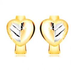 Orecchini in oro 585 in due colori - cuore piene in due colori con foglia