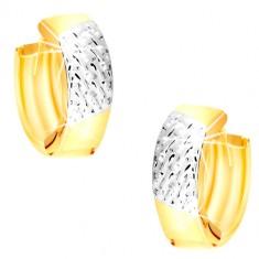 Orecchini rotondi  in oro 14K in due colori - strisce in oro bianco