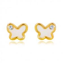 Orecchini in oro giallo 14K - farfalla con madreperla naturale e zircone