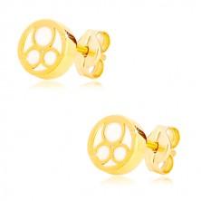 Orecchini in oro giallo 585 - cerchio con madreperla naturale e tre anelli