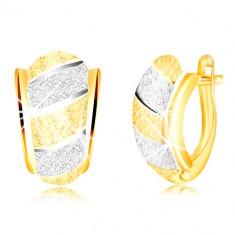 Orecchini brillanti in oro 585 - arco asimmetrico, strisce, superficie sabbiata