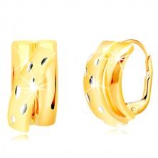 Orecchini in oro 14K - semiarchi brillanti decorati con arco diagonale opaco