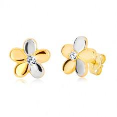 Orecchini in oro 585 in due colori - fiore brillante in due colori, zircone