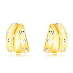Orecchini in oro 14K in due colori - tre semiarchi e grani, chiusura a farfalla