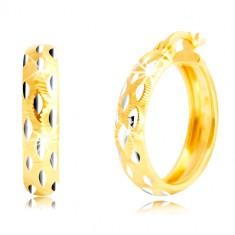 Orecchini rotondi in oro 14K - perline in oro bianco, piccoli ritagli