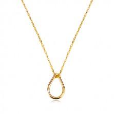 Collana in oro giallo 9K - contorno lacrima, catena sottile con maglie ovali
