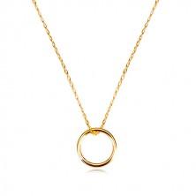Collana in oro 375 - catena sottile con ciondolo e cerchio brillante, liscio