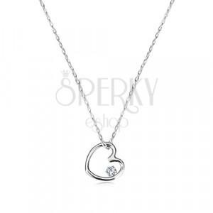 Collana in oro bianco 375 - contorno piccolo cuore simmetrico con zircone