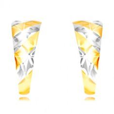 Orecchini in oro 585 - arco asimmetrico, striscia verticale, reticolo