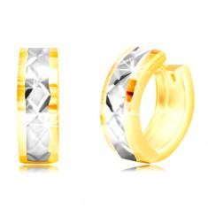 Orecchini rotondi in oro 14K - piccole zone, striscia in oro bianco, reticolo