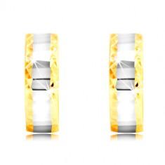 Orecchini in oro 14K - cerchi, striscia in oro bianco con piccoli parti, bordi con ritagli