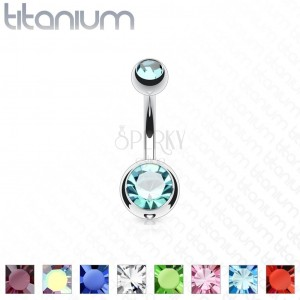 Piercing all'ombelico in titanio - palline con zirconi brillanti, lunghezza 12 mm