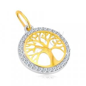 Ciondolo in oro 14K in due colori - cerchio con albero della vita, zirconi brillanti