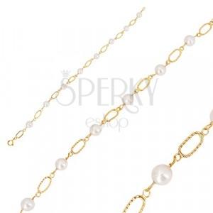 Bracciale in oro 585 - perline bianche arrotondate, maglie ovali con intagli