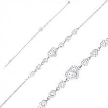 Bracciale in argento 925 - cuori in zirconi, grande cuore e zircone