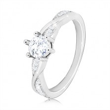Anello di fidanzamento in argento 925 - anello rotondo, linee brillanti arcuati, zirconi