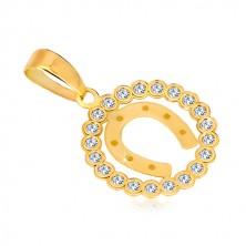 Ciondolo in oro giallo 14K - cerchio in zircone e ferro di cavallo per portafortuna