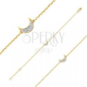 Bracciale in oro 14K - catena sottile brillante, mezzaluna incisa con zirconi