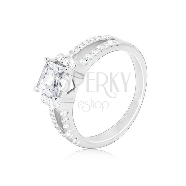 Anello in argento 925 - zircone brillante quadrato, linee di due chiavi in zircone
