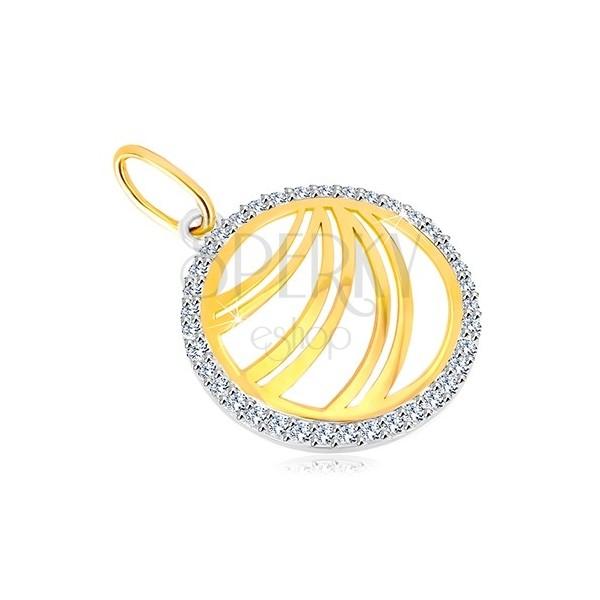 Ciondolo in oro 585 - linea doppia con anello in oro bianco e zirconi