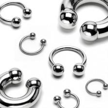 Piercing in acciaio inox - ferro di cavallo brillante con palline, larghezza 10 mm