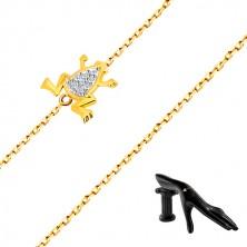 Bracciale in oro 14K - catena sottile, rana in oro bianco e zirconi