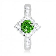 Anello in argento 925 - rombo in zircone chiaro, zircone verde rotondo