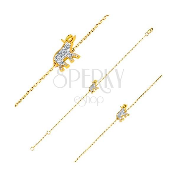 Bracciale in oro 14K - elefante con zirconi brillanti, catena sottile brillante